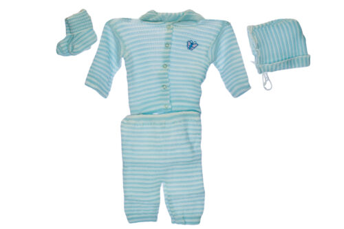 OR TURQUOISE  0-3 MTHS YELLOW BNIB  BABY KNITTED 5PC SUIT SETS IN BLUE PINK
