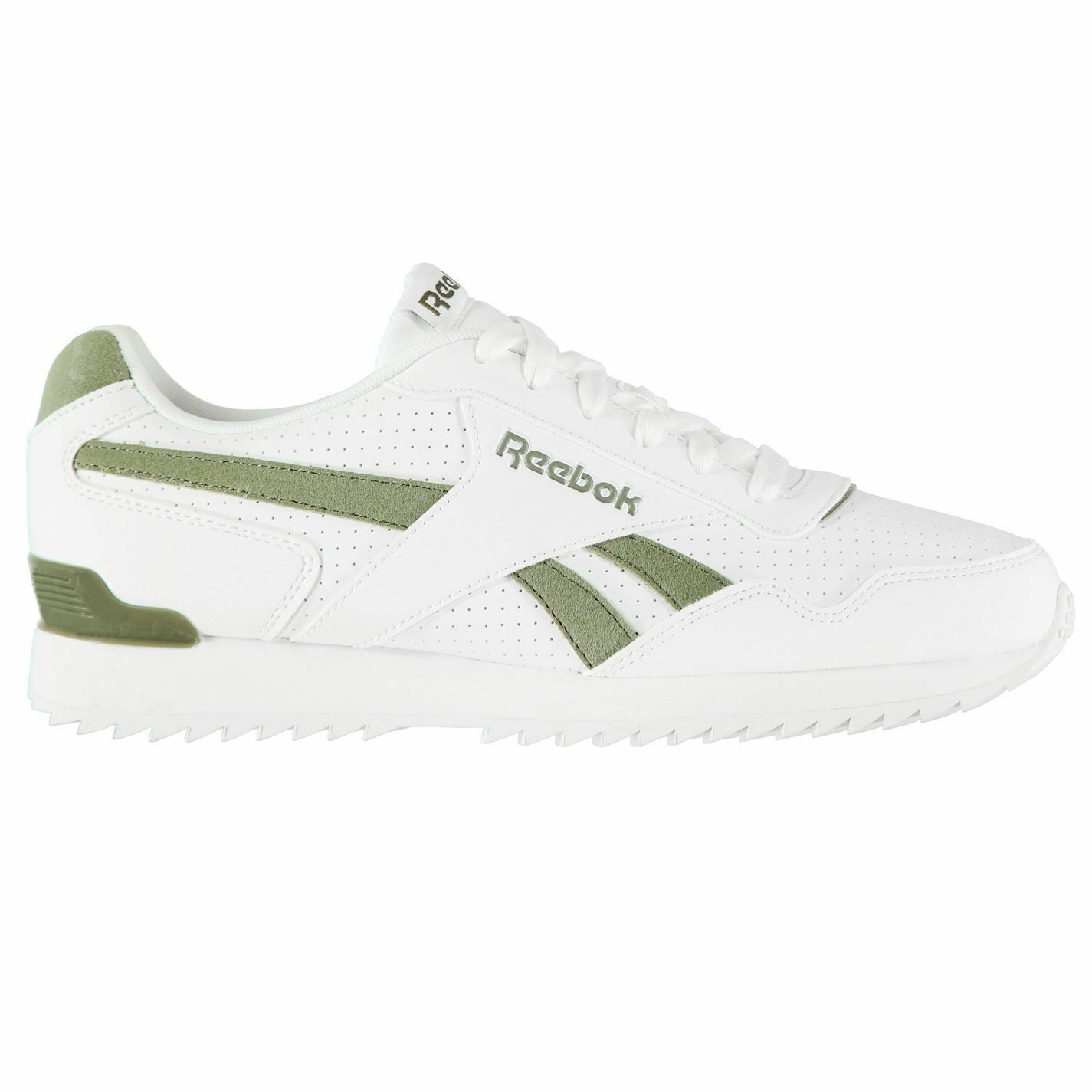 Reebok Royal Glide Ripple Clip Trainers Mens White Green Sports shoes Sneakers