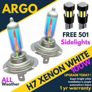 H7 100w Super White Xenon (499) Car Headlight Bulbs 12v + W5w Led 194 Sidelights