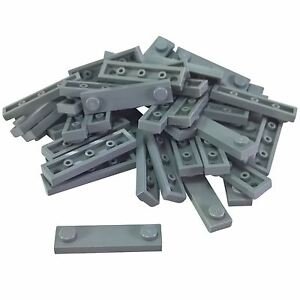 50 NEW LEGO Plate Modified 1 x 4 2 Studs BRICKS Light Bluish Gray