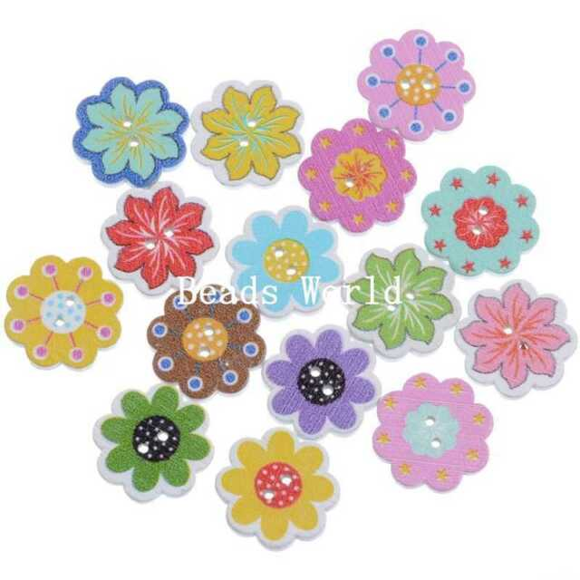 100 Mixed Wood Sewing Buttons Scrapbooking 2 Holes Flower Pattern Shape 20mm