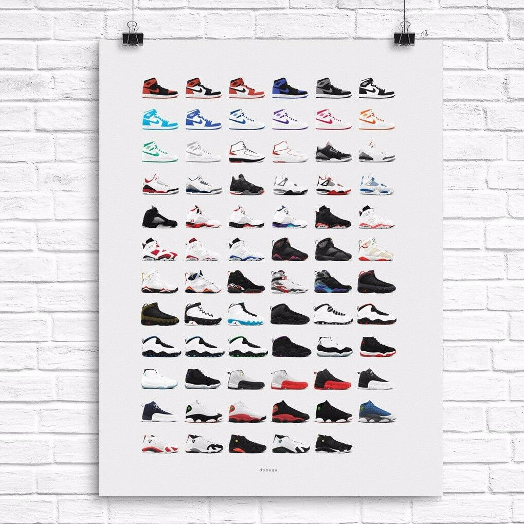 Air Jordan Originals Poster - 1 2 3 4 5 6 7 8 9 10 11 12 Nike Retro Remaster  Casual wild