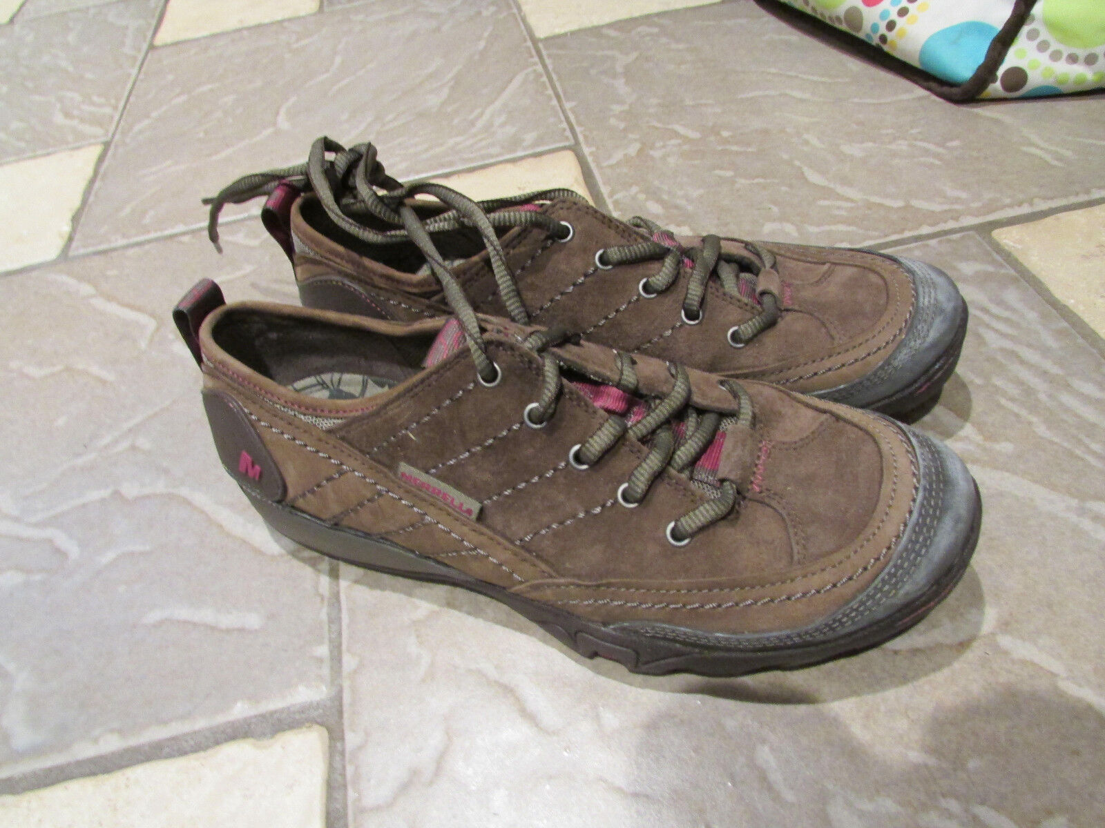 MERRELL BROWN LEATHER LACE UP SHOES WOMENS 7 FREE SHIP