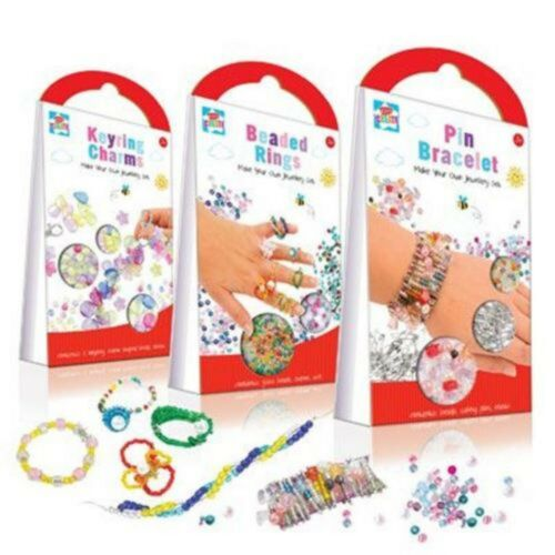 Make Your Own Jewellery Set Keyring Craft Kit Activity Set Safety Pin Bead Charm