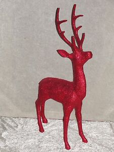 hirsch glitzer reh rentier figur skulptur weihnachten dekoration deko gro rot ebay. Black Bedroom Furniture Sets. Home Design Ideas