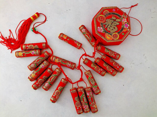 XL 18 HEADS CHINESE RED FIRE CRACKERS HANGING BIRTHDAY PARTY DECO NO GUN POWDER!