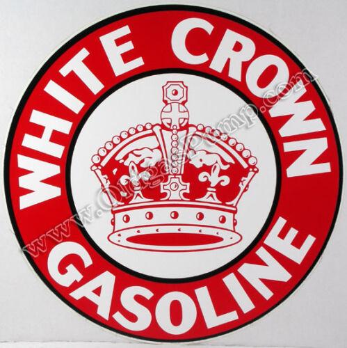 "WHITE CROWN GASOLINE 12/"" VINYL GAS /& OIL PUMP DECAL DC-113"