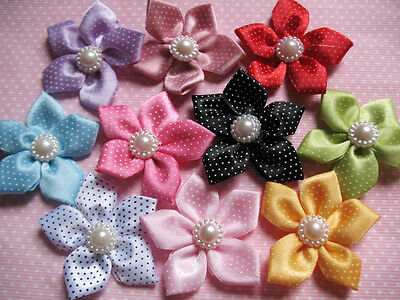 "20 Polka Dots 2"" Satin Ribbon Flower Pearl-10 Colors RF077"