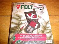Bucilla Heart Felt 14 Christmas Stocking Kit Santa Clothes 83598 Embroidery Craft Supplies