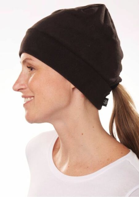 Isotoner Active Black Stretch Teddy Fleece Pull-On Ponytail Opening Hat-  34 bf90ce001cc