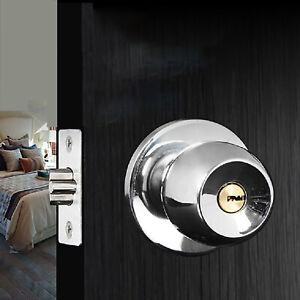 Stainless Steel Bedroom Wooden Door Thicken Round Handle Knobs Lock Anti-theft   EBay