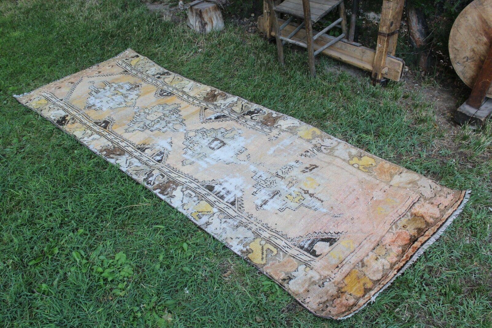 Vintage Handmade Turkish Oushak  Runner Rug Carpet 8'6 x3'