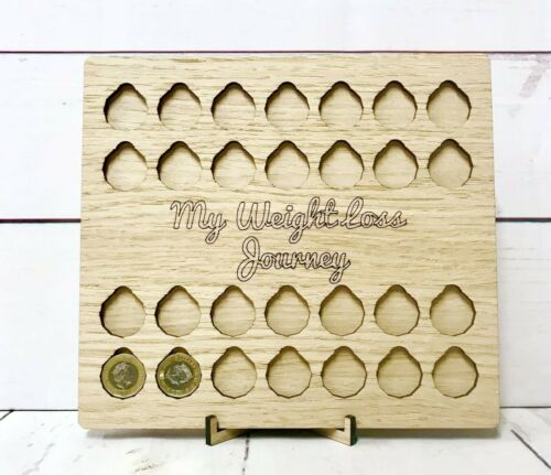 All Oak Personalised Option £ for lb rewards Weight Loss Journey Board