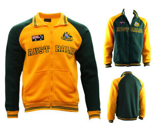 Adult-Full-Zip-Up-Baseball-Jacket-Jumper-Australian-Australia-Day-Green-amp-Gold