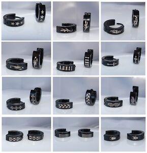 nero-Black-orecchini-Laser-UOMO-DONNA-UNISEX-cerchio-ACCIAIO-INOX-TITANIO-4mm