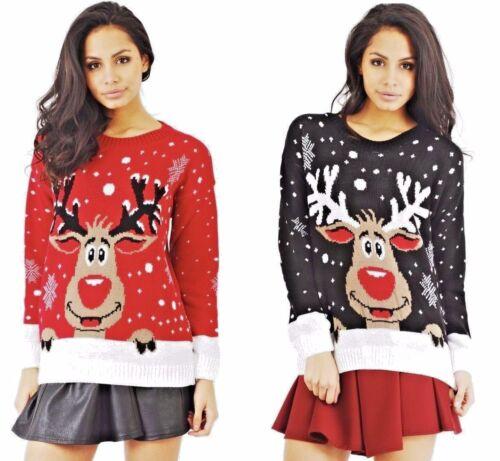 Da Donna Rudolph Renna Fiocco Di Neve Christmas Jumper Donna Pullover Top Casual UK