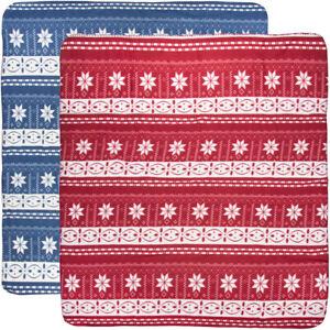 "2pk Snowflake Print Fleece Blanket Throw Blanket Soft Red And Blue 50""x60"""