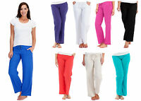 LADIES CASUAL LINEN TROUSERS SUMMER WEAR HOLIDAYS SIZE 10-18
