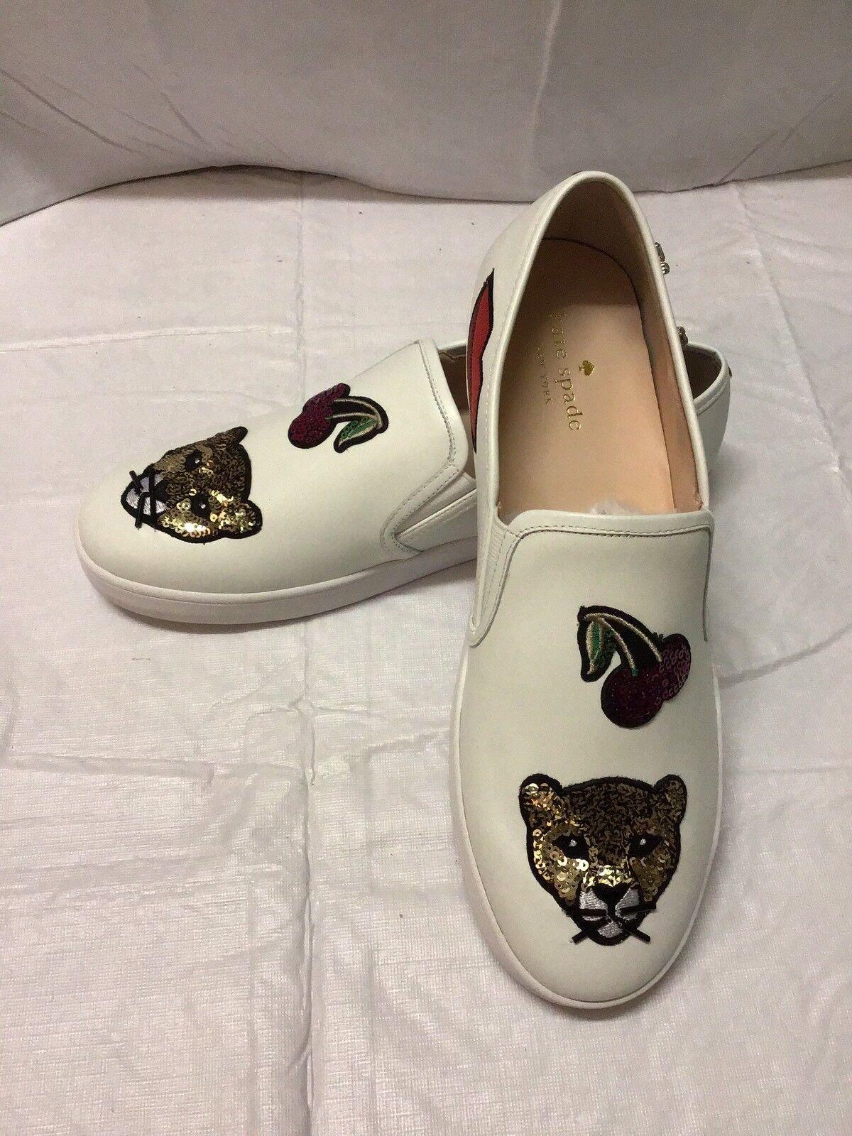 Kate Spade Lizbeth White Sneaker Sequin Lips Cherry Cat Women's Shoes 8.5M New