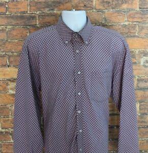 Tommy-Hilfiger-Men-039-s-Dress-Shirt-Size-XL-Red-Blue-Plaid-Long-Sleeve-100-Cotton