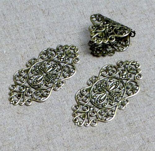 pack of 10 Antique Bronze Filigree Component