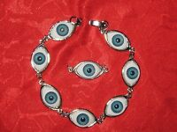 Silver Tone Blue Eyeball Eye Bracelet Eyeballs Pendant Fantasy Optical Set