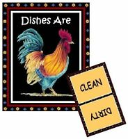 Rooster 2 - Dishwasher Magnet (clean/dirty) Ship Free