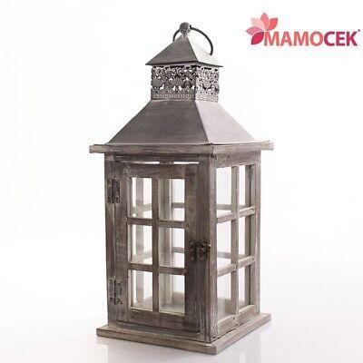 Lanterna Portacandela Naturale Sbianc 17x17 H39 Legno Metallo Decorazione Shabby