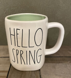 Rae Dunn By Magenta - LL HELLO SPRING W Green Interior Coffee Mug - Easter
