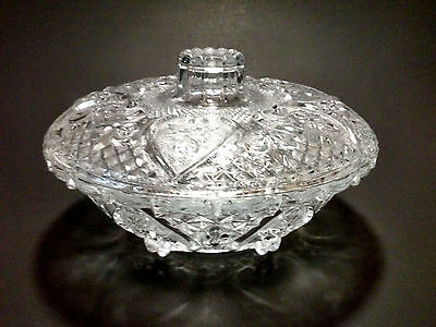 KIG Glass Candy Dish with lid Roses and Hearts