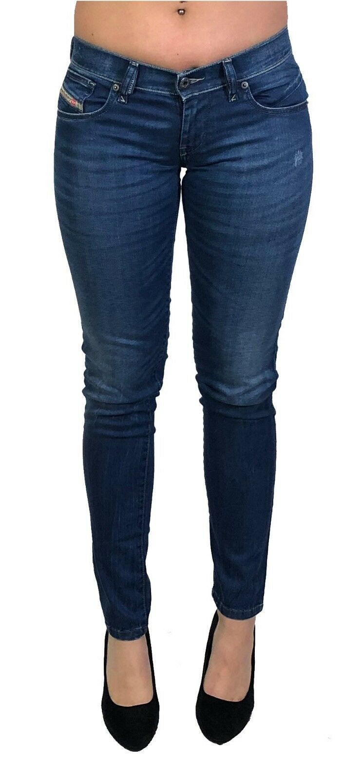 Diesel Damen Stretch Jeans GETLEGG 0R610 slim Skinny blau  used look  dezent NEU