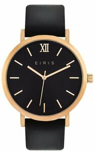 WOMENS-MENS-FASHION-DRESS-WATCH-100-LEATHER-BAND-ROSE-GOLD-BLACK-ANALOG-5ATM
