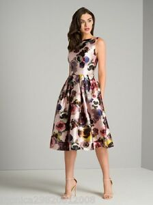 Chi-Chi-London-Nude-Floral-Midi-robe-de-mariage-Cocktail-Party-UK-8-10-12-14-16