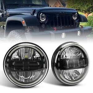 7 Inch Round LED Headlight Halo Angle Eyes For Jeep 97-2018 Wrangler JK LJ TJ