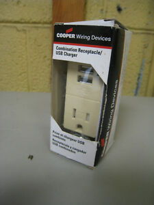 Peachy Details About Cooper Wiring Devices Tr7740V Box Ivory Combo Dual Usb Charger Single Receptacle Wiring Database Gramgelartorg