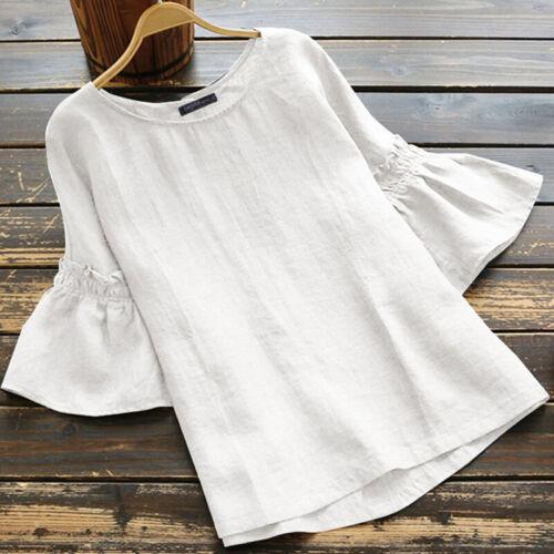 Women Summer Boho Short Ruffle Sleeve Blouse Tops Casual Loose T Shirt Basic Tee