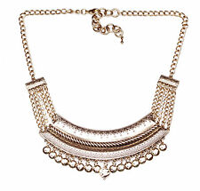 GOLD AZTEC INSPIRED PLATE FRONTED ADJUSTABLE NECKLACE WITH METAL TASSELS (NS2)
