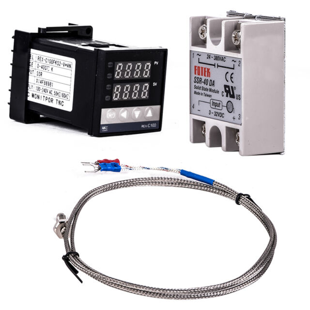 Digital PID Temperature Control + 40A SSR + K Thermocouple 0 to 400℃ REX-C100