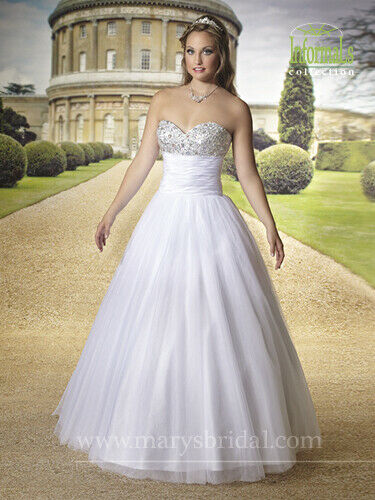 Mary's Bridal Wedding Dress 2460 Tulle Ball Gown Beaded Bodice Strapless Ivory