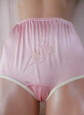 """SHY PINK EMBROIDERED SATIN """"NOT YOUR GRANNY'S""""  PANTY 6/M"""