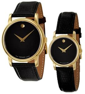 movado museum black dial gold black leather mens 2100005