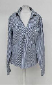 GUCCI-Men-039-s-White-amp-Blue-Striped-Cotton-Long-Sleeve-Collared-Shirt-Neck-15-75-034