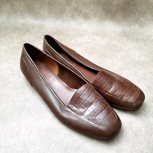 Enzo Angiolini Womens Liberty Sz 8 M Brown Leather Slip On Croc Print Loafers