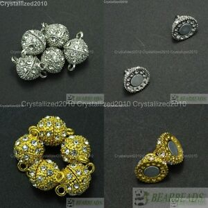 10-Sets-Crystal-Rhinestone-Strong-Magnetic-Round-Ball-Connector-Clasps-Making