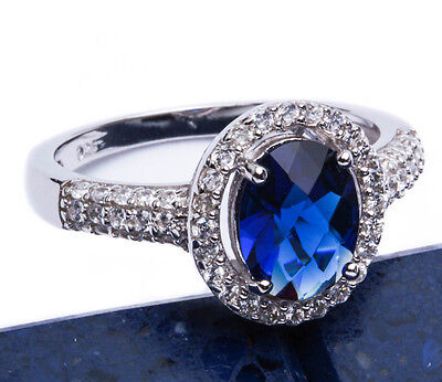 3 Carat Halo Style Blue Sapphire CZ .925 Sterling Silver Ring Sizes 5-9