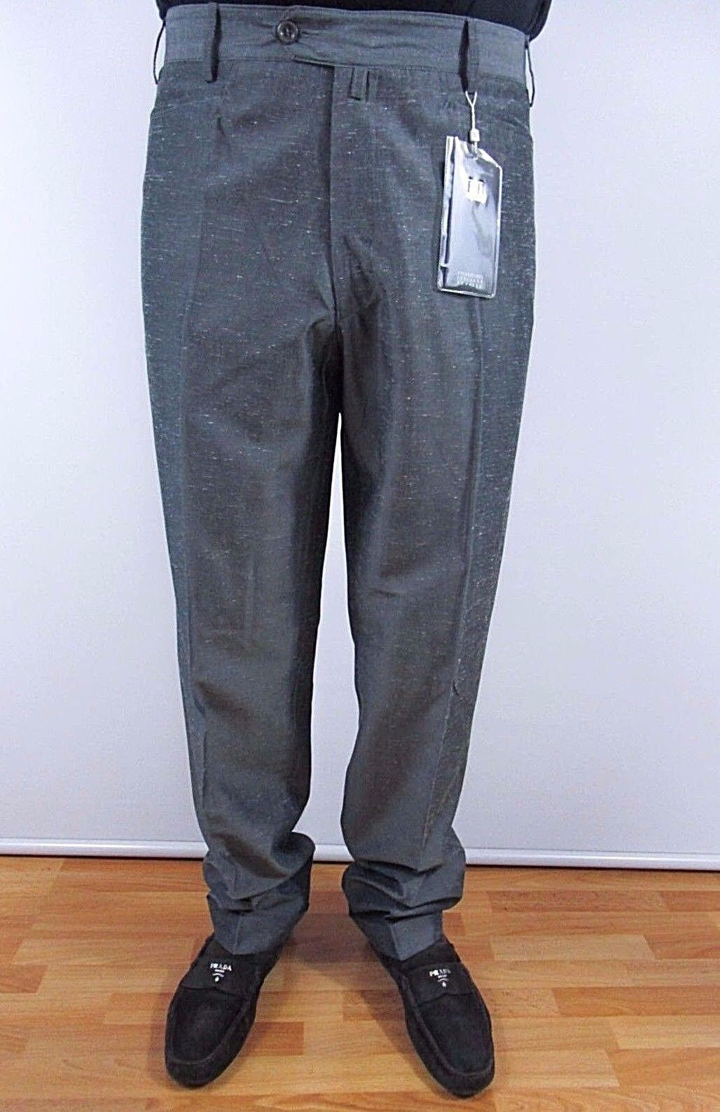 Men's Made in  Grey Formal Office Tailored Suit Pants Trousers sz IT50 BI35