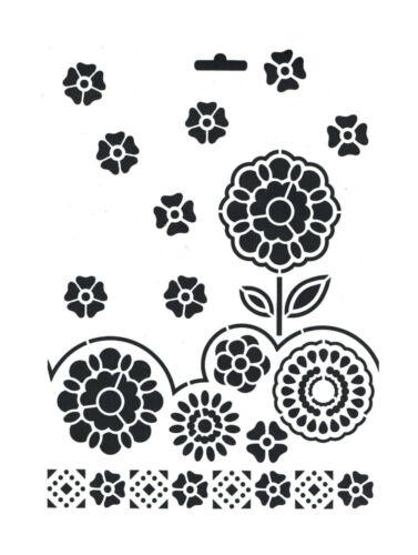 zum Auftragen von Farbe zb Textil Heike Schäfer Schablone A4 Blüten Blumen