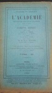 Revista Sesiones y Trabajo De L Academie Informe Agosto 1913 París ABE