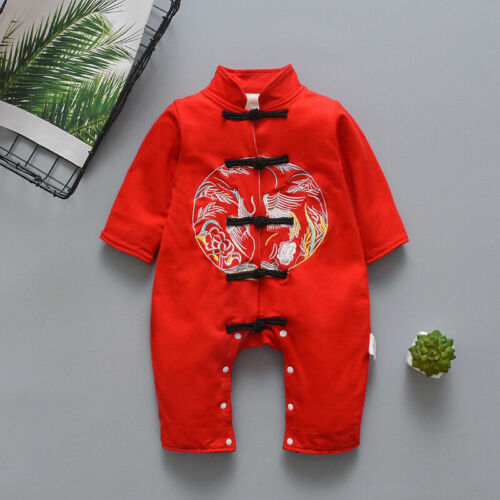 New Girl//Boy Baby Infant Long Sleeve Romper Chinese-style Embroidered Jumpsuit