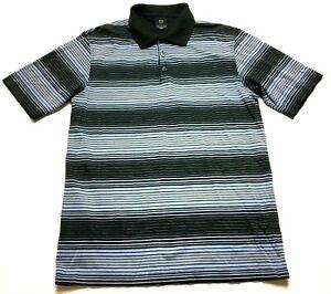 Nike-Golf-Mens-Blue-Striped-Short-Sleeve-Polo-Shirt-Size-Medium